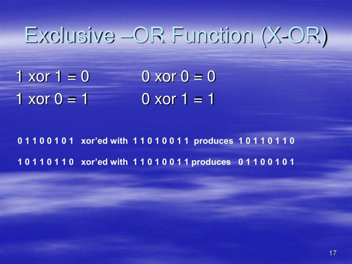 Exclusive –OR Function (X-OR)