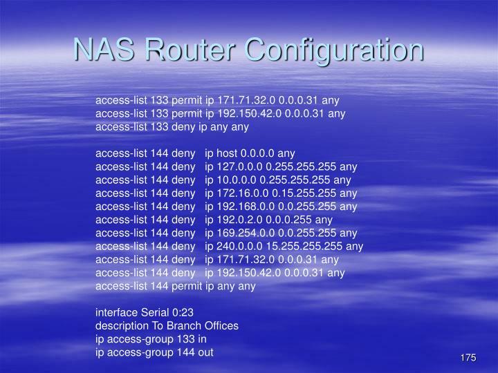 NAS Router Configuration