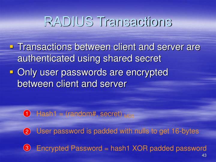 RADIUS Transactions