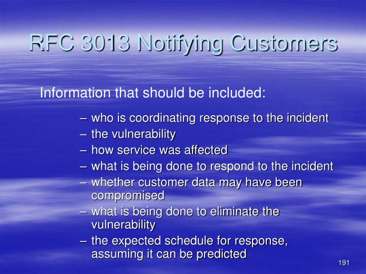 RFC 3013 Notifying Customers