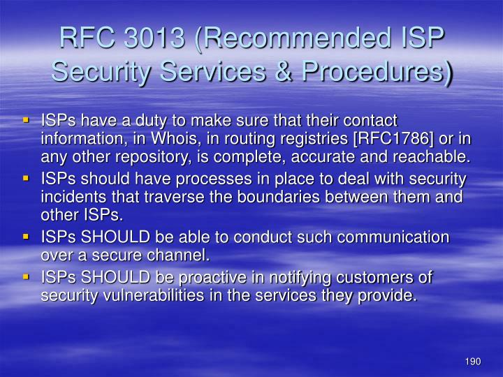 RFC 3013 (Recommended ISP Security Services & Procedures)