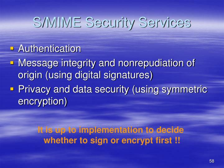 S/MIME Security Services
