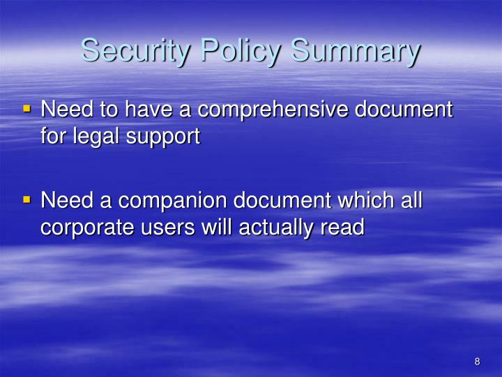 Security Policy Summary