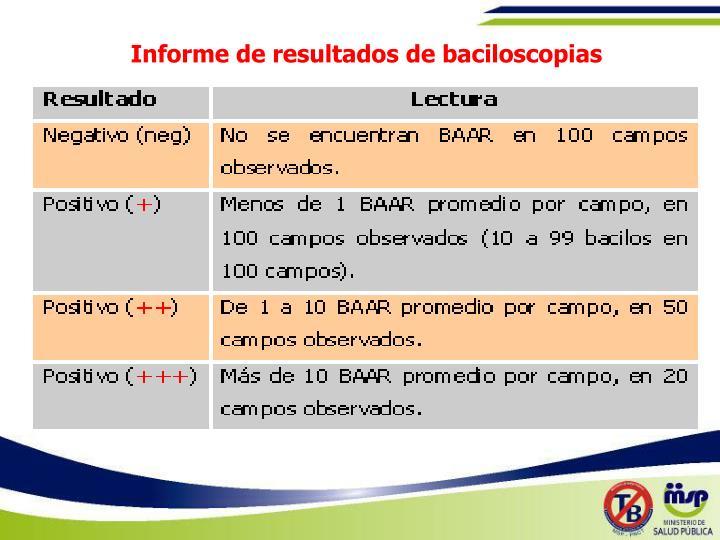 Informe de resultados de baciloscopias