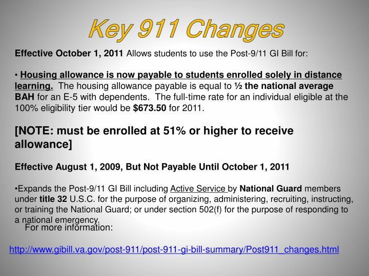 Key 911 Changes