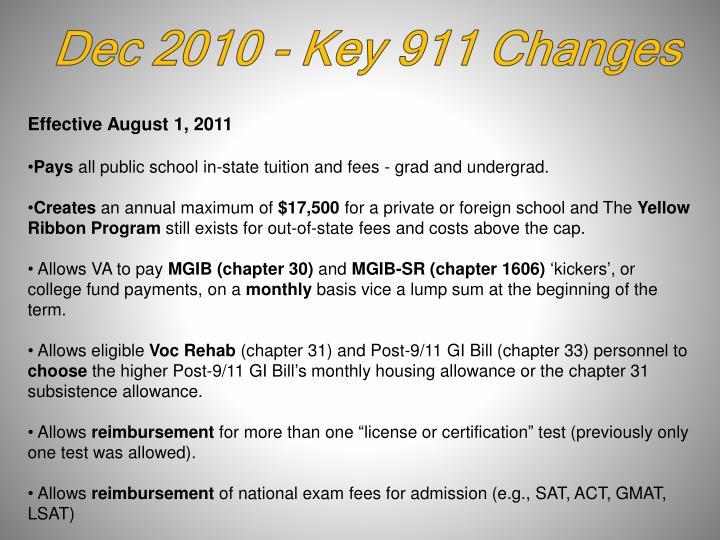 Dec 2010 - Key 911 Changes