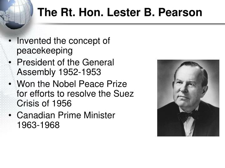 thesis statement for lester b pearson Minister of external affairs lester b pearson cautioned against succumbing to the black madness of the witch hunt when canada began to track down homegrown communists in the early 1950s.