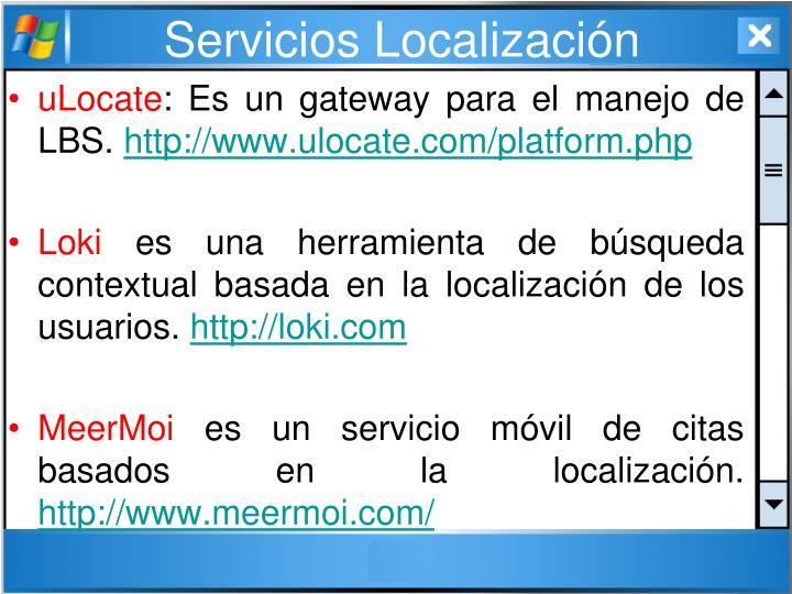 Servicios Localización
