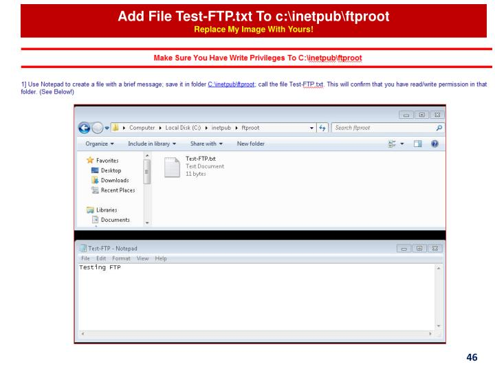 Add File Test-FTP.txt To c:\inetpub\ftproot