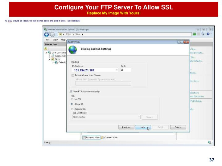 Configure Your FTP Server To Allow SSL