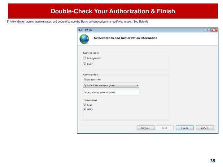 Double-Check Your Authorization & Finish