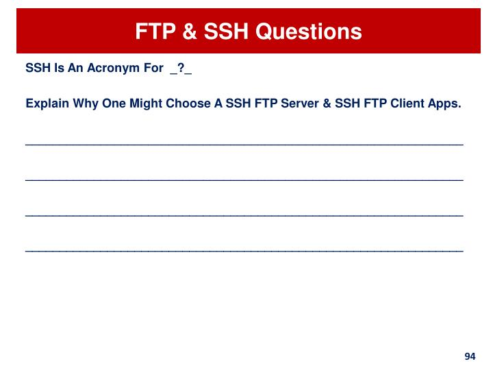 FTP & SSH Questions