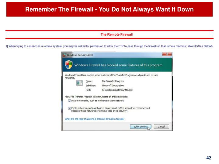 Remember The Firewall - You Do Not Always Want It Down