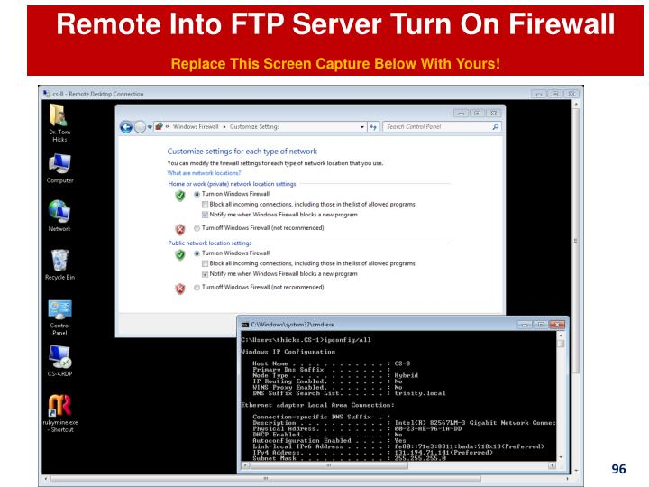 Remote Into FTP Server Turn On Firewall
