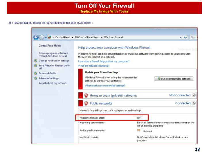 Turn Off Your Firewall