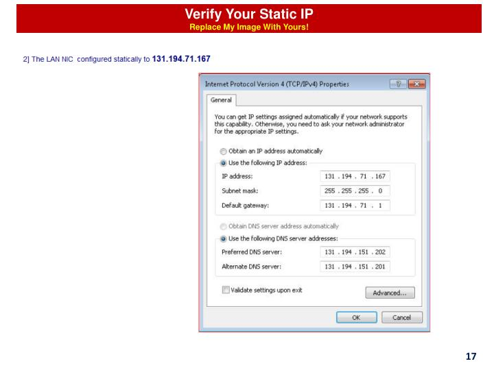Verify Your Static IP