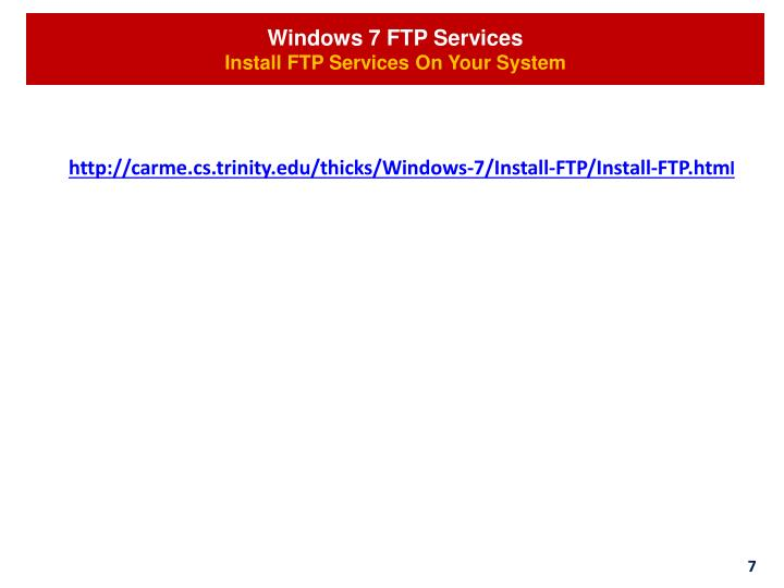 Windows 7 FTP Services