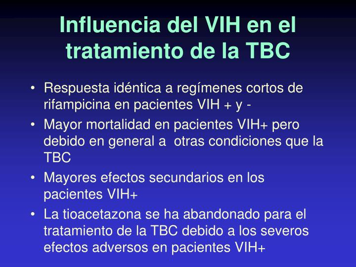 Influencia del VIH en el tratamiento de la TBC