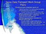 texas data transport work group plans