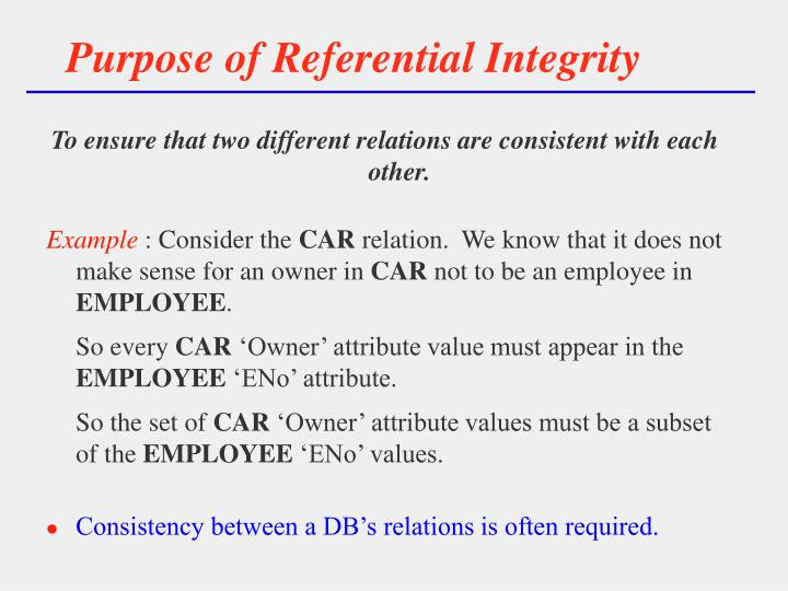 Purpose of referential integrity