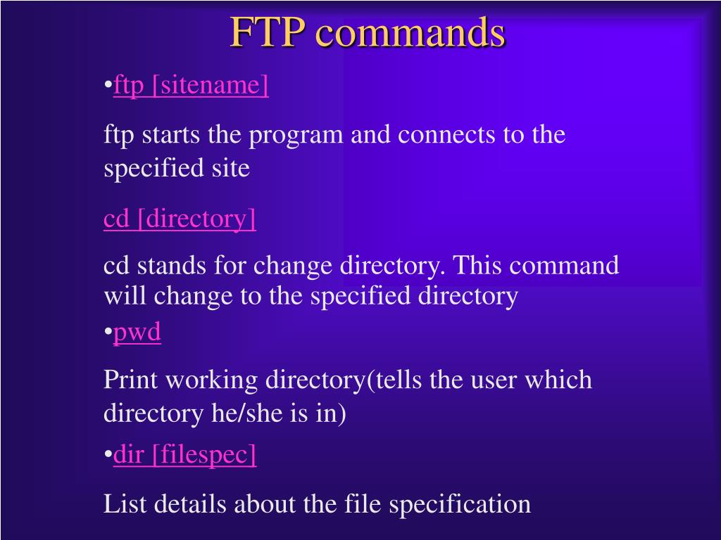 PPT - FTP COMMANDS PowerPoint Presentation - ID:4270706