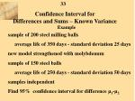confidence interval for differences and sums known variance