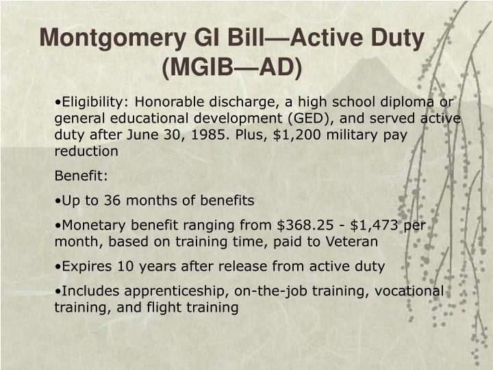 Montgomery GI Bill—Active Duty (MGIB—AD)