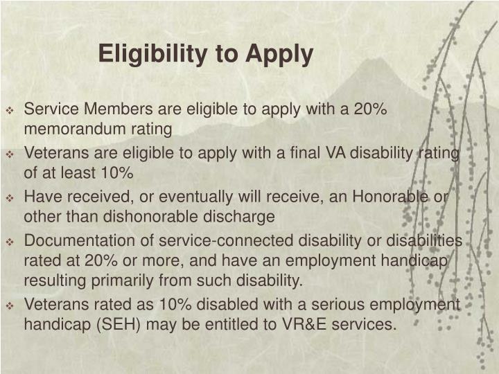 Eligibility to Apply