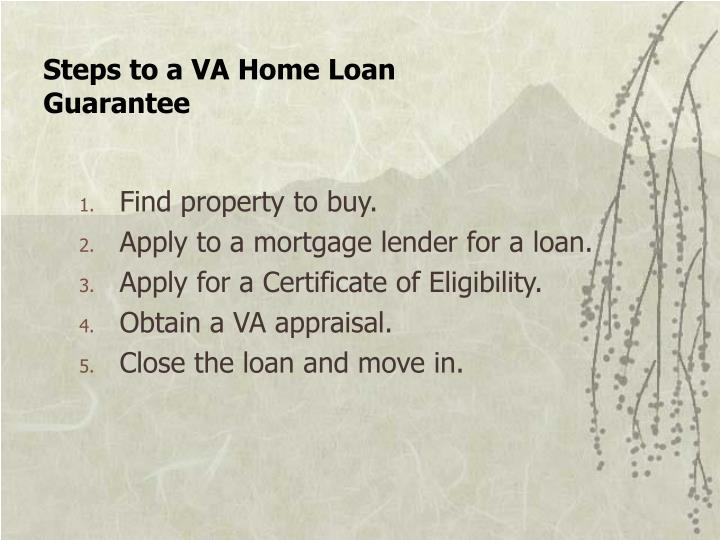 Steps to a VA Home Loan Guarantee