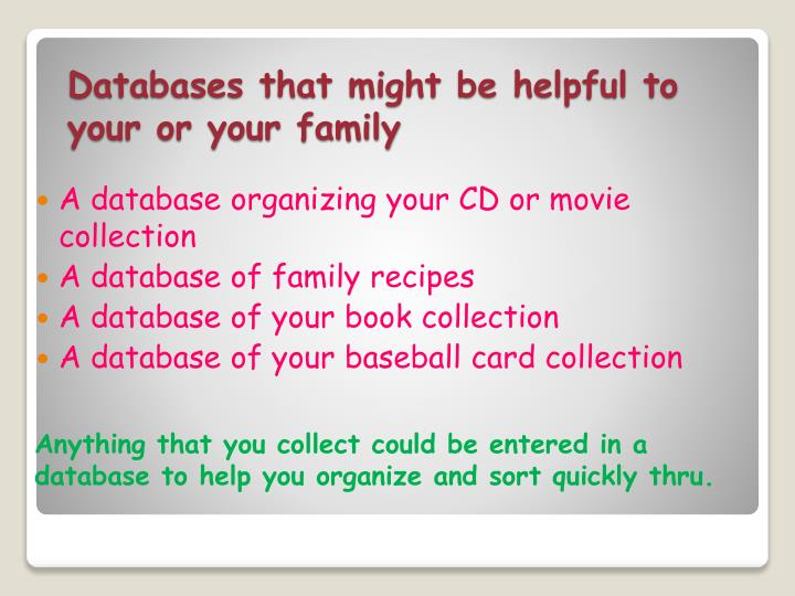 Databases that might be helpful to your or your family
