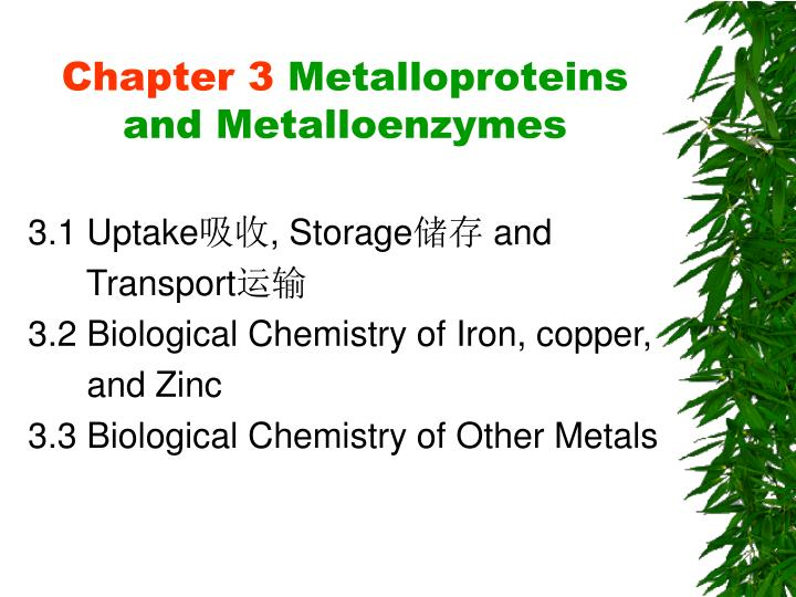 chapter 3 metalloproteins and metalloenzymes n.