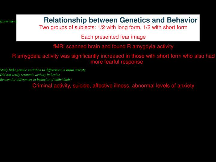 Relationship between Genetics and Behavior