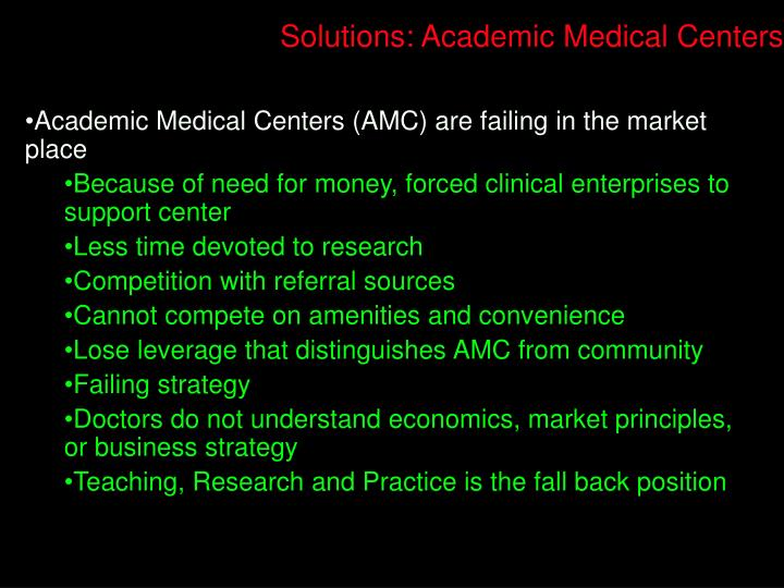 Solutions: Academic Medical Centers