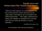 tunable lasers and erbium doped fiber tunable laser sources