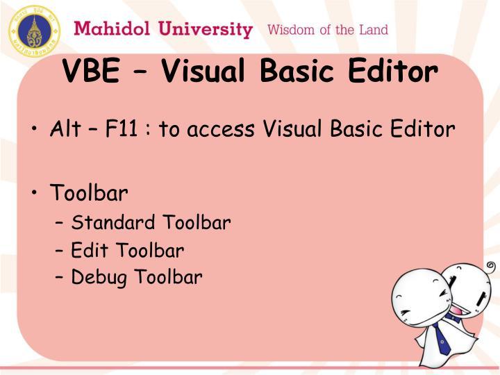 VBE – Visual Basic Editor