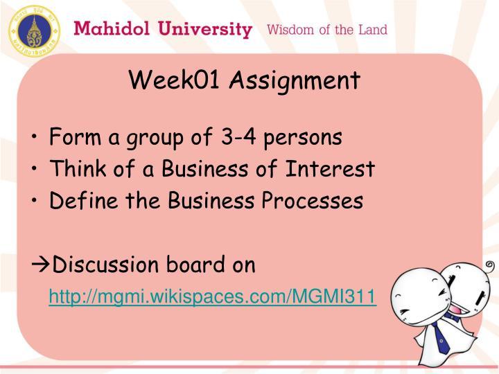Week01 Assignment