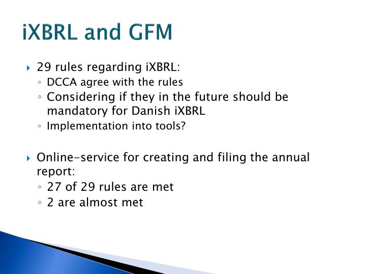 iXBRL and GFM