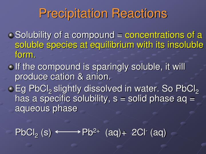 labpaq stoichiometry of a precipitation reaction Precipitation reactions are when two liquids combine to form a solid, known as a precipitate a similar reaction can occur between two gases to produce a solid, and is also considered click on the video to see one of the most colourful examples, however most of the time precipitates are white and cloudy.