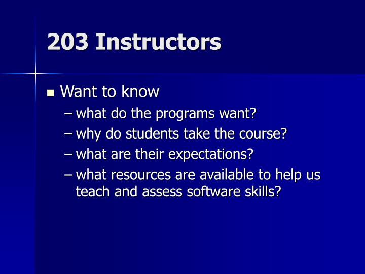 203 Instructors