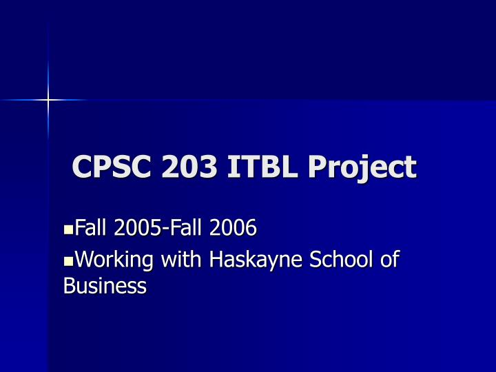Cpsc 203 itbl project
