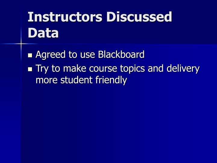 Instructors Discussed Data