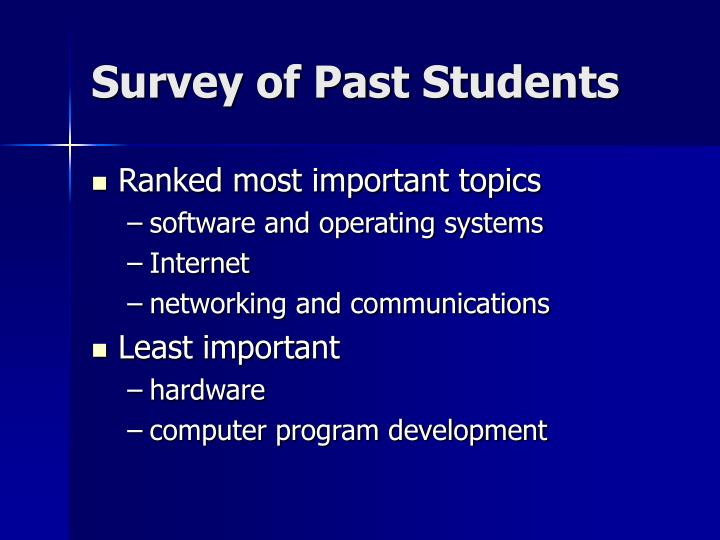 Survey of Past Students