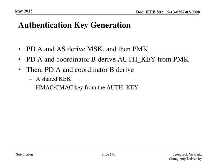 Authentication Key Generation