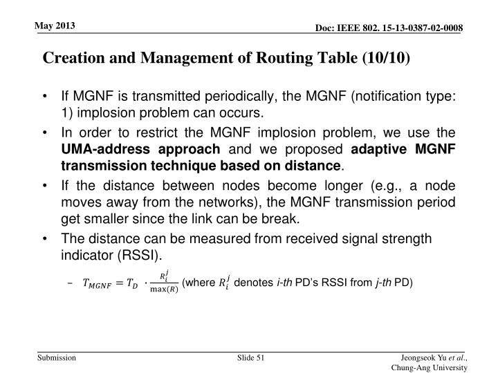 Creation and Management of Routing Table (
