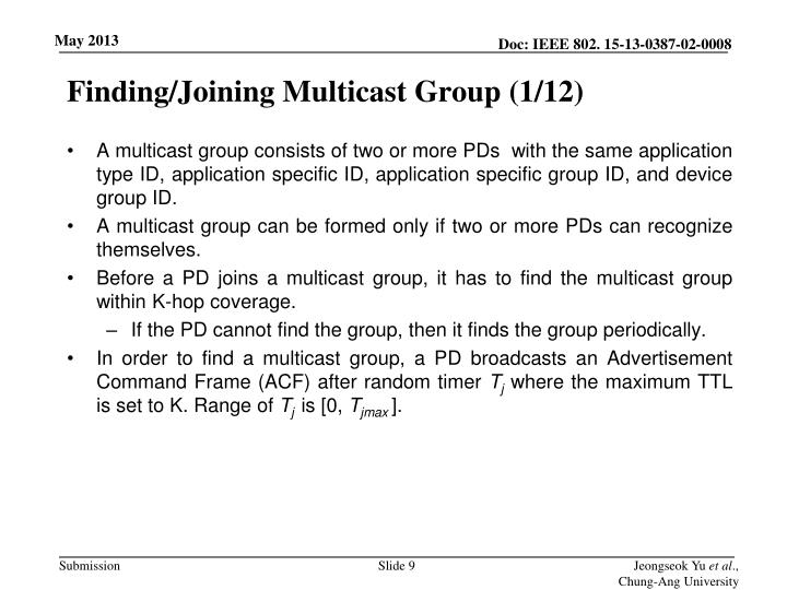 Finding/Joining Multicast Group (1/12)