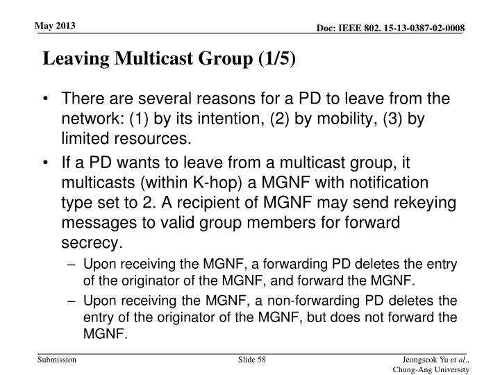 Leaving Multicast Group (1/5)