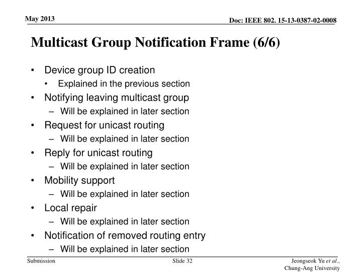 Multicast Group Notification Frame