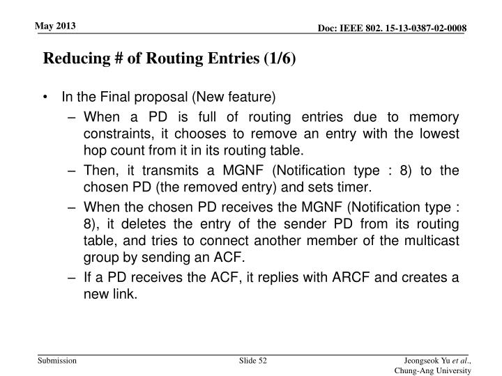 Reducing # of Routing Entries