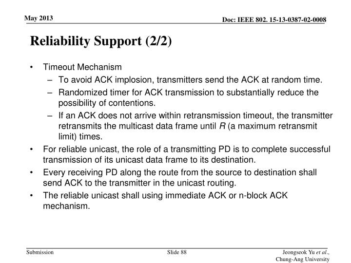 Reliability Support (2/2)