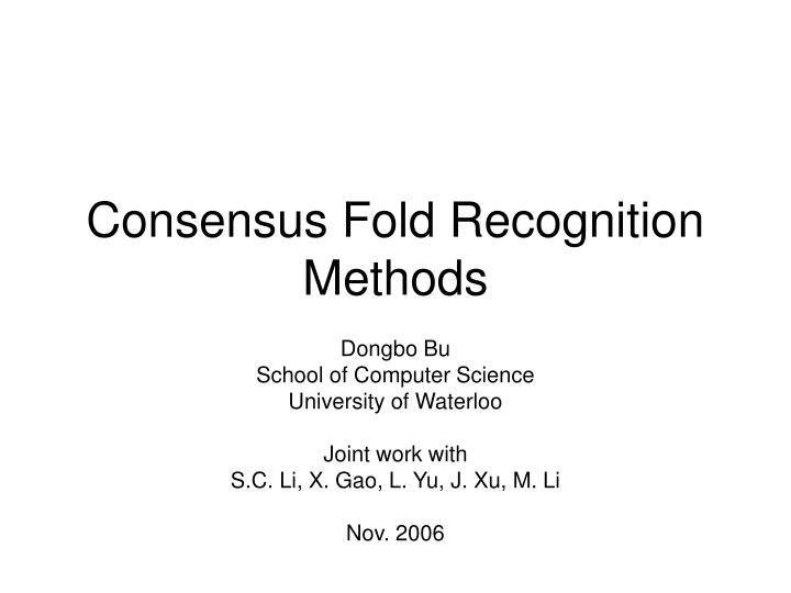consensus fold recognition methods n.